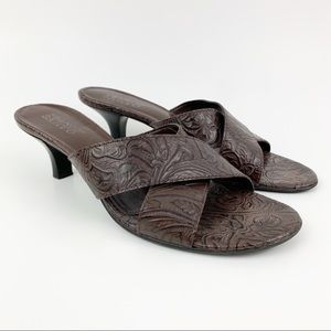 Franco Sarto Heeled Sandals Sz 9 Tooled Leather